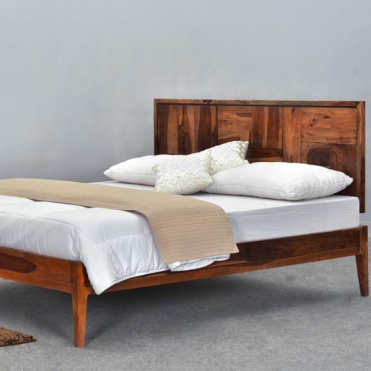 sunrise modern pioneer solid wood platform bed frame w headboard - Full Wood Bed Frame