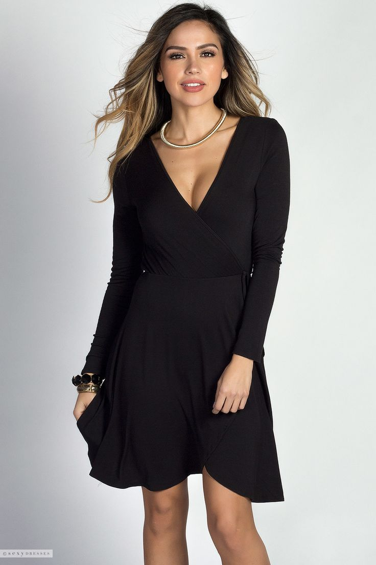 Black dress jersey -  Beth Black Long Sleeve A Line Jersey Wrap Dress