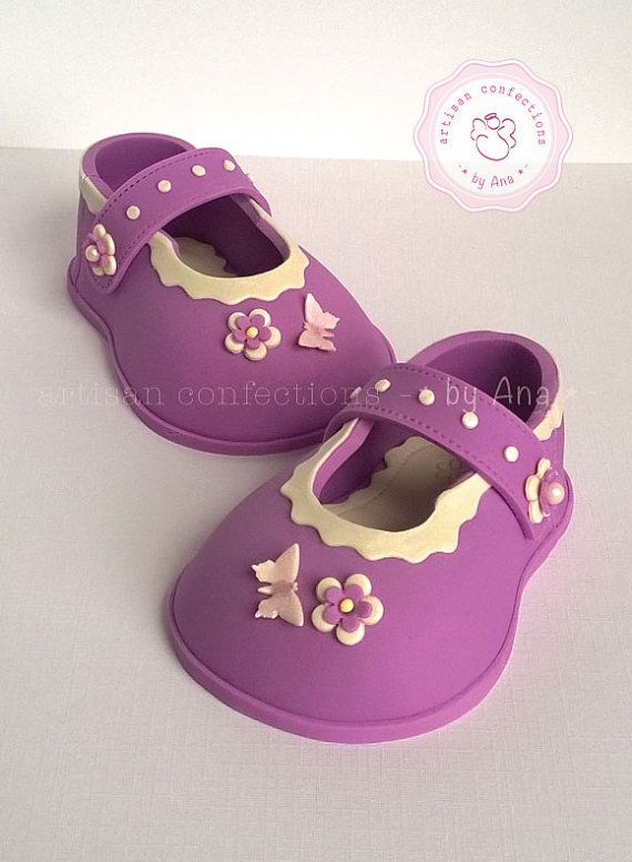 Adorable baby girl sugar shoes cake topper by SweetArtSugarShop