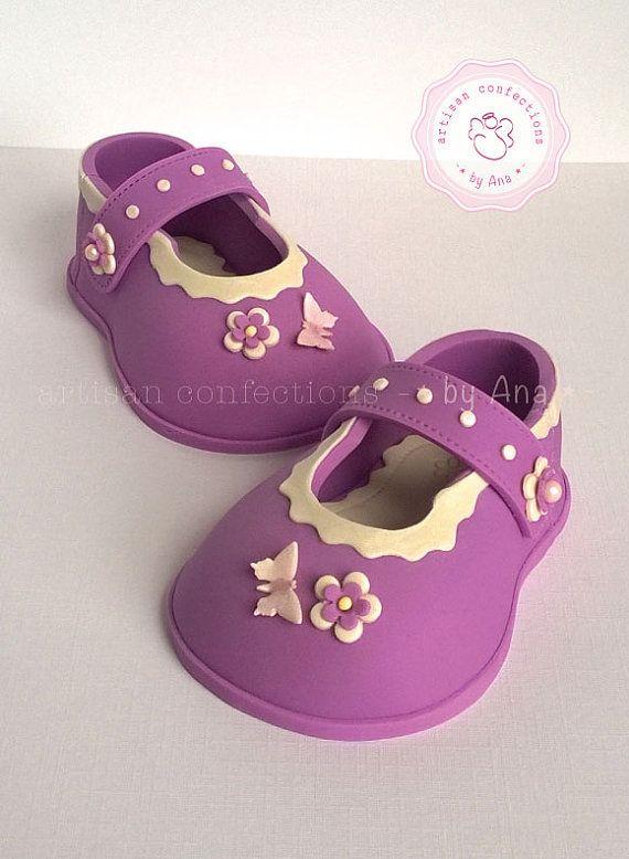 Adorable baby girl sugar shoes cake topper by SweetArtSugarShop