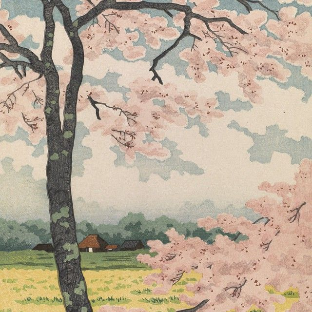 """Replace today's gray with some #pink! Our #CherryBlossom Celebration is this Saturday, a day full of #Japanese art, anime and manga #films, and #family activities. This 1922 woodblock #print, titled """"Snow, Moon, and #Flowers,"""" is by artist..."""