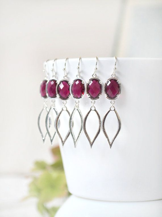 Burgundy red Dangle Earrings Red Drop by ArtemisBridalJewelry
