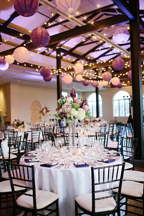 Purple & White Reception Decor | Lisa Hessel Photography | Theknot.com