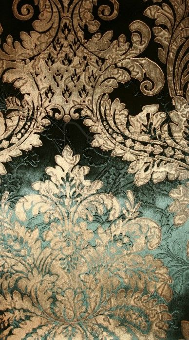 Baroque textiles because of its flamboyant gold pattern and dark green colour