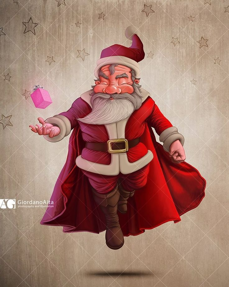 Santa Claus Super hero $ Contact me for illustration, poster, greetings card and more $