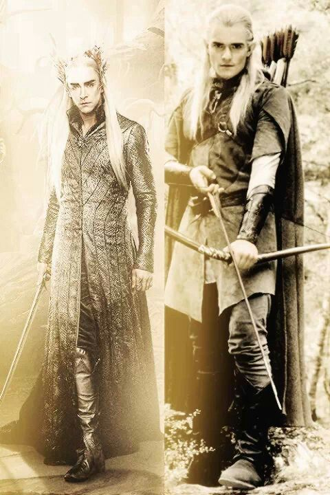 Thranduil & Legolas.  Look at the graceful way Lee Pace is standing!!!