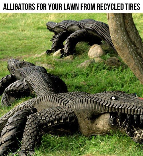 recycled tire alligators - I really want these! Oh what I could do! On drinking nights? Or date nights for the daughters, after suitable rumors has been started of course about the old alligator farm that used to be where we built our house...muahahahahahah