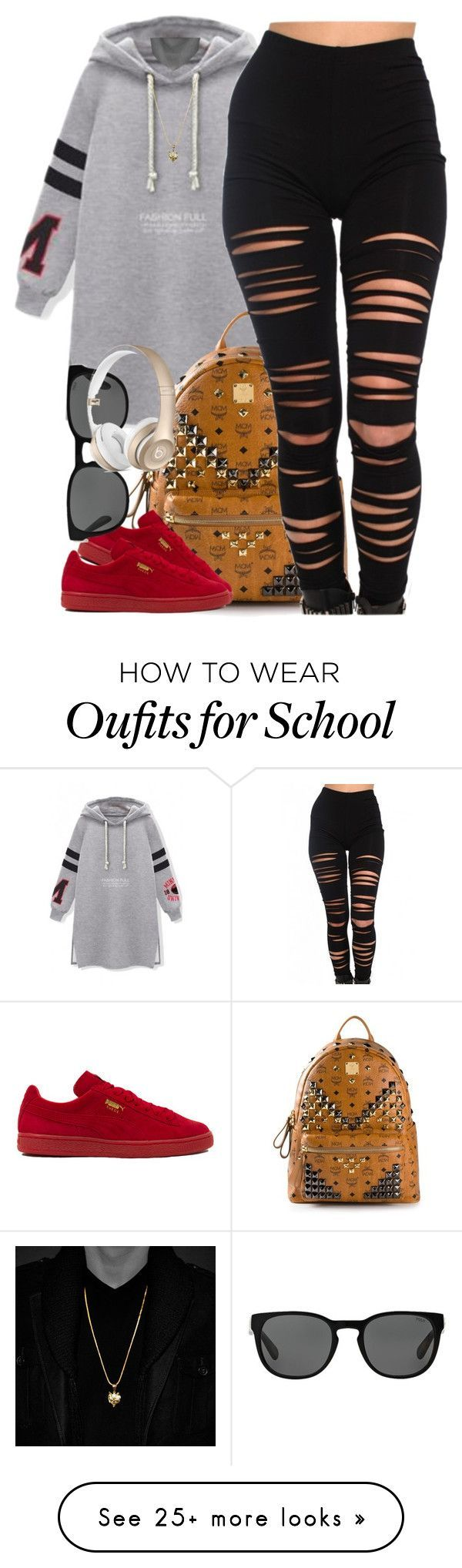 soo tired of school rn by cjasmyne on Polyvore featuring MCM, Akira, Puma and Polo Ralph Lauren