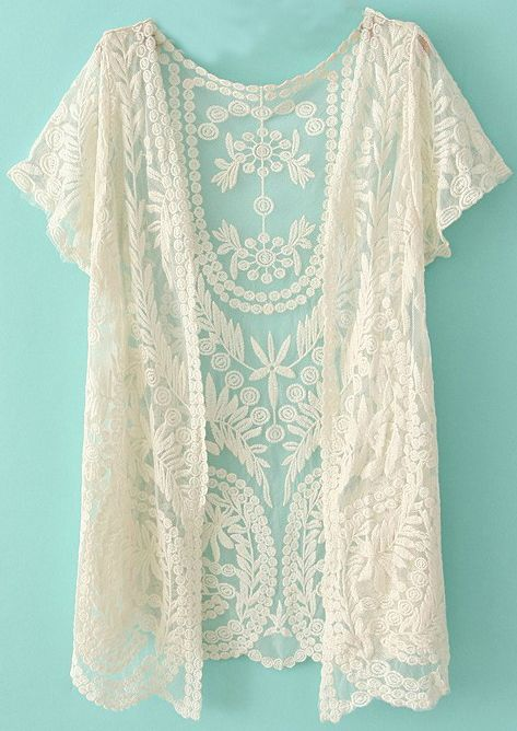 White Short Sleeve Crochet Net Lace Cardigan US$23.77...I would wear this everyday!