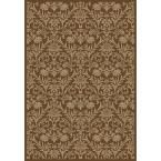 Jewel Damask Brown 7 ft. 10 in. x 9 ft. 10 in. Area Rug