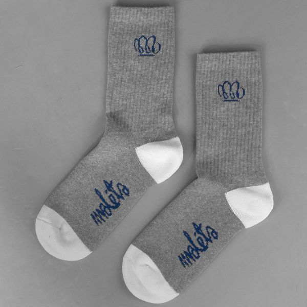 Skarpetki Malita Yoda heather grey/white    - skarpetki MALITA   - sportowe z bawełny czesanej, z dodatkiem włókna elastanowego i poliamidowego   - z płaskim szwem i podwójnym ściągaczem