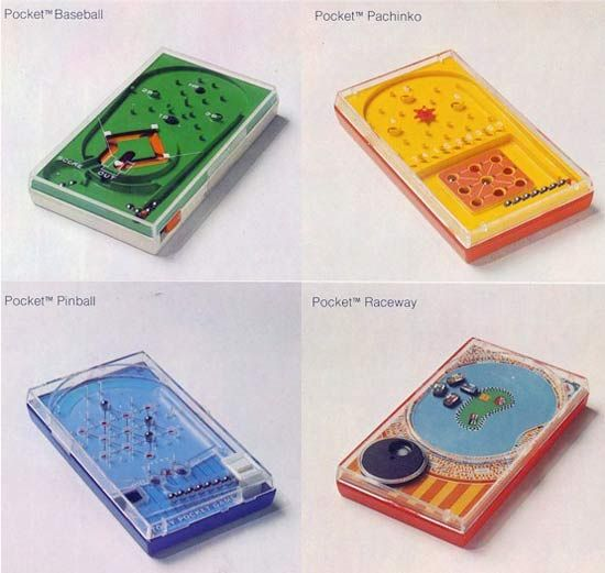 Tomy Pocket Games, about $4 at the drugstore in the 1970's, the size of a cassette case. Baseball, auto racing, pachinko, very ingenious gravity/magnetic games I spent HOURS playing and playing...