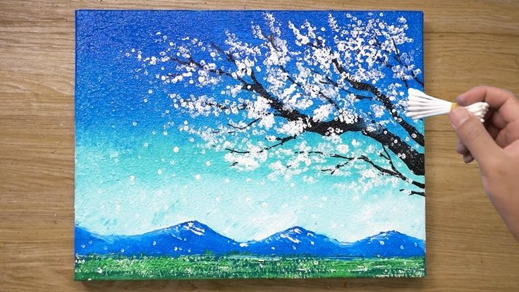 Painting A White Cherry Blossom Tree Cotton Swabs Painting Technique 436 Youtube Cherry Blossom Painting Cherry Blossom Art Painting Techniques