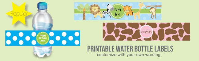 Printable water bottle labels in all types of themes and patterns. Chevron, polka dots, jungle! #babyshower #partyideas