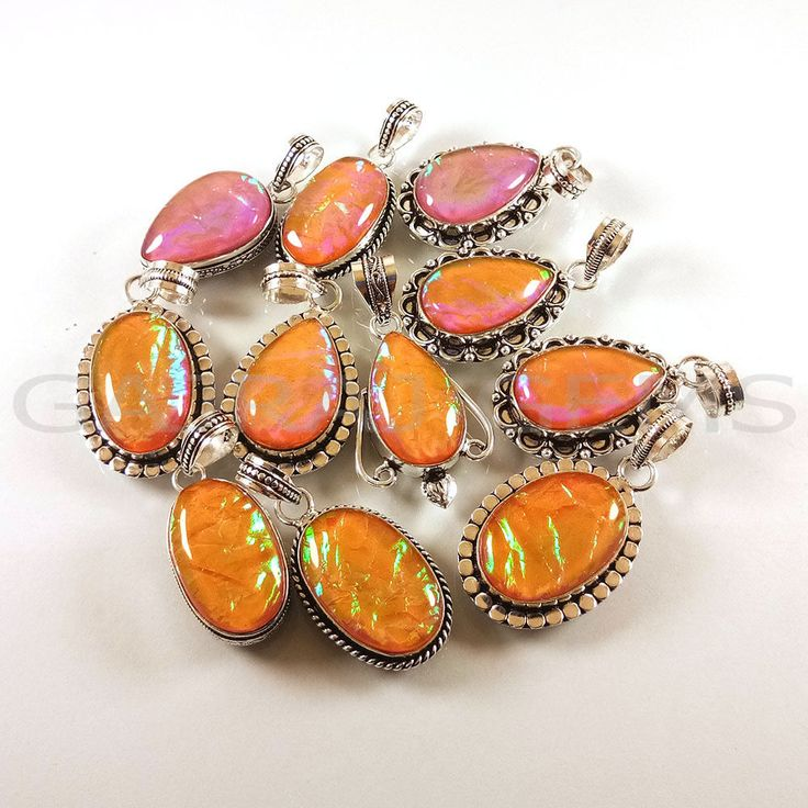 Valentine Gift !! 100 PCs Orange Opals Gemstone Silver Plated Pendants Jewelry  #Gajrajgems92_9 #Pendant