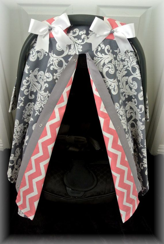 car seat canopy car seat cover gray grey bows by JaydenandOlivia