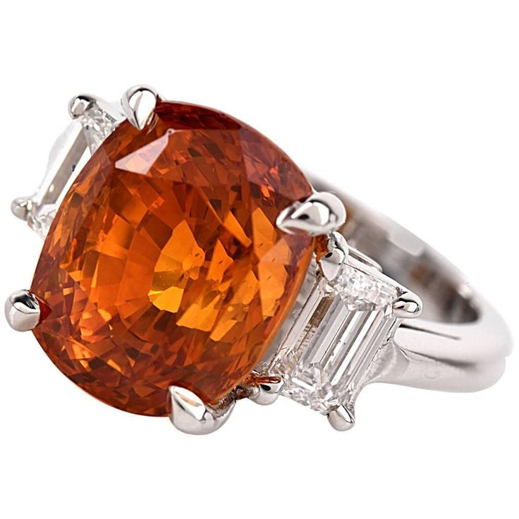 Orange Sapphire Diamond Platinum 3-Stone Ring | You can see the Rest of the Outfit and my Comments on this board.  -  Gabrielle
