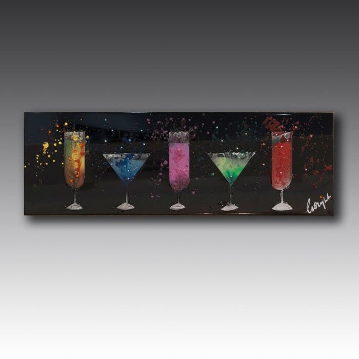 Handcrafted from glass and embellished with Swarovski crystals, this wall art shows off appealing cocktails