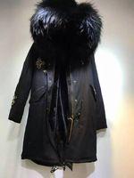 Популярный Черный Мех Пальто Заклепки Крест Бисером Роман Г-Н Долго Черный Большой воротник Пальто, модели Г-ЖА черный выстроились куртки