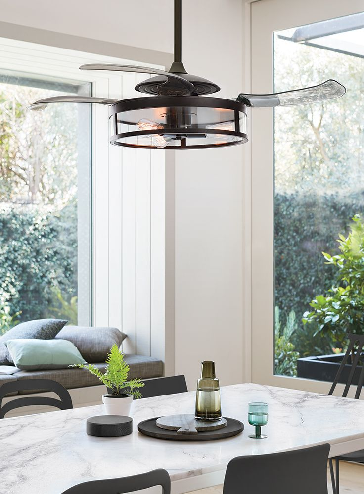 the beacon lighting fanaway classic retractable acrylic 4 blade ceiling fan and light in black with reverse kitchen greenchef