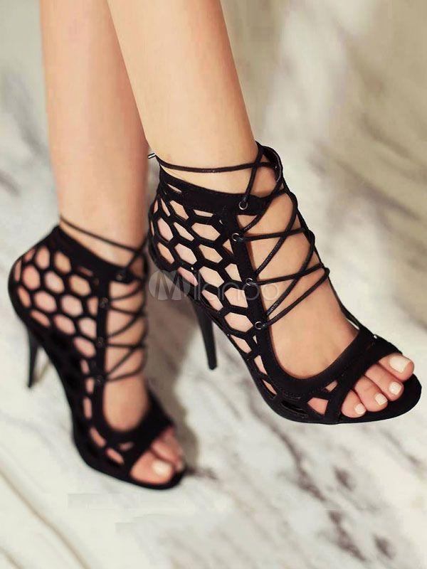 6449ddfa48f Black Gladiator Sandals High Heel Sandals Open Toe Lace Up Sandal ...