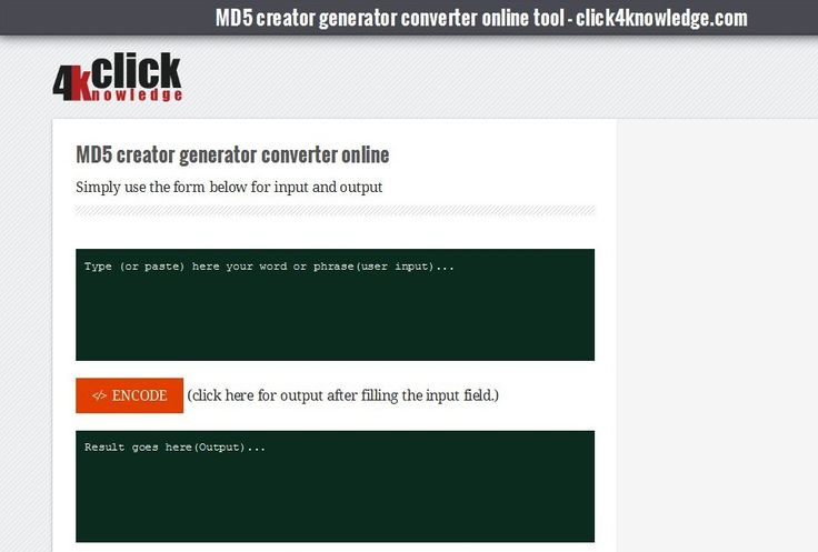 MD5 converter online tool. With this you can easily encode in md5 with md5(). Generate create convert with this md5 converter - online tool.