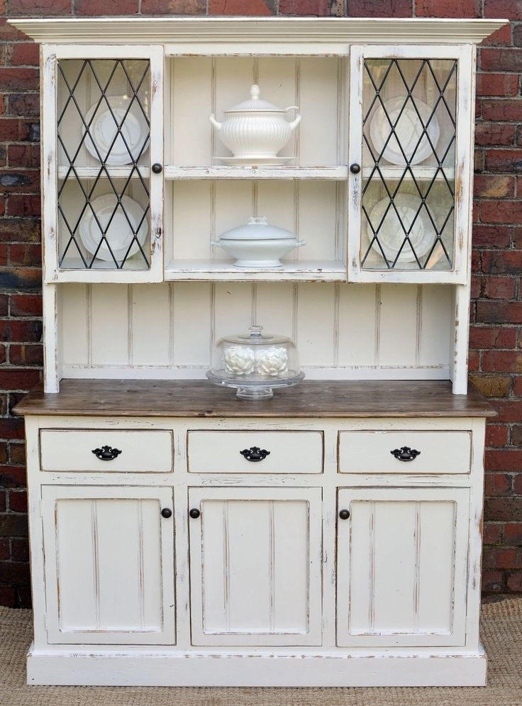 Country Farmhouse French Provincial Buffet AND Hutch Sideboard Dresser White Kitchen HutchKitchen Cabinet