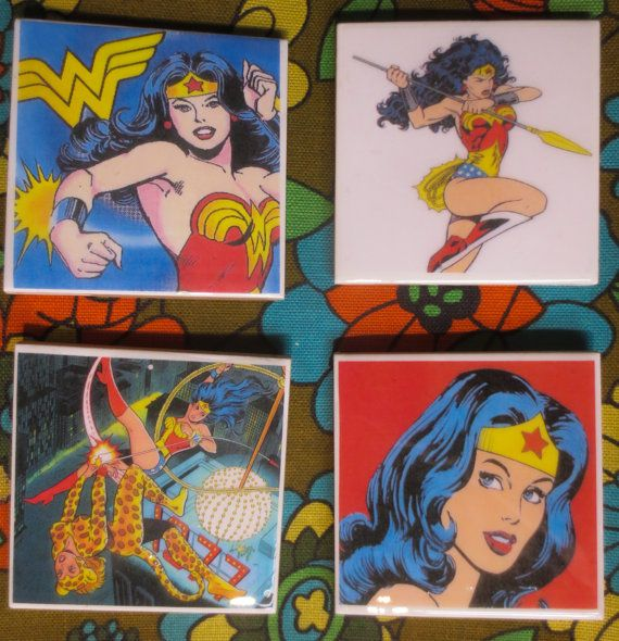 Wonder woman coasters. Hey, I found this really awesome Etsy listing at https://www.etsy.com/listing/194923459/comic-book-wonder-woman-4-pc-coaster-set