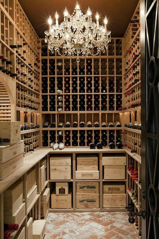 Nice What An Amazing Wine Cellar U2026 From The Sparkling Chandelier To The Raw Wood  Shelving, Rustic Brick Floor U0026 Heavy Black Door U2026 Perfect.