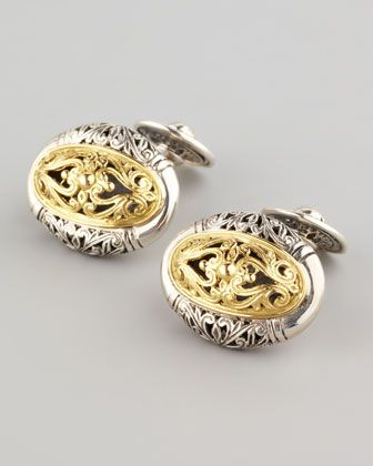 Mixed Metal Oval Cuff Links by Konstantino at Neiman Marcus.
