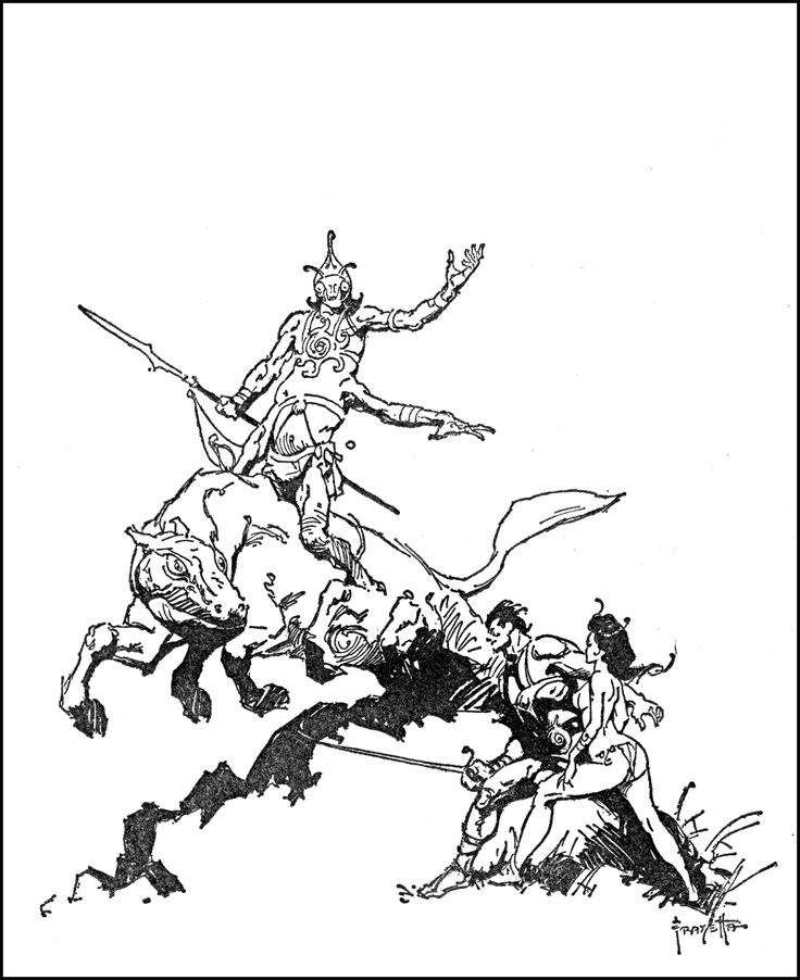 "Illustration for Edgar Rice Burroughs' ""A princess of Mars"", by Frank Frazetta"