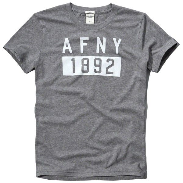 Abercrombie & Fitch Logo Graphic Tee (250 ZAR) ❤ liked on Polyvore  featuring men's fashion, men's clothing, men's shirts, men's t-shirts, heather  grey, ...