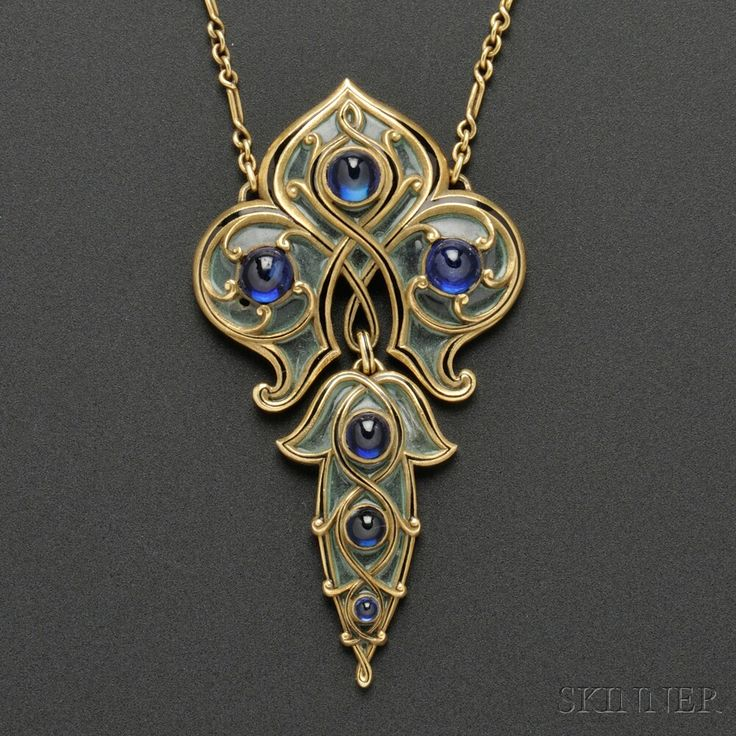 Art Nouveau Gold, Sapphire, and Plique-a-Jour Enamel Pendant, Marcus & Co., the shaped pendant with plique-a-jour enamel panels with black tracery enamel accents, set with cabochon sapphires, and suspended from paperclip-link chain.