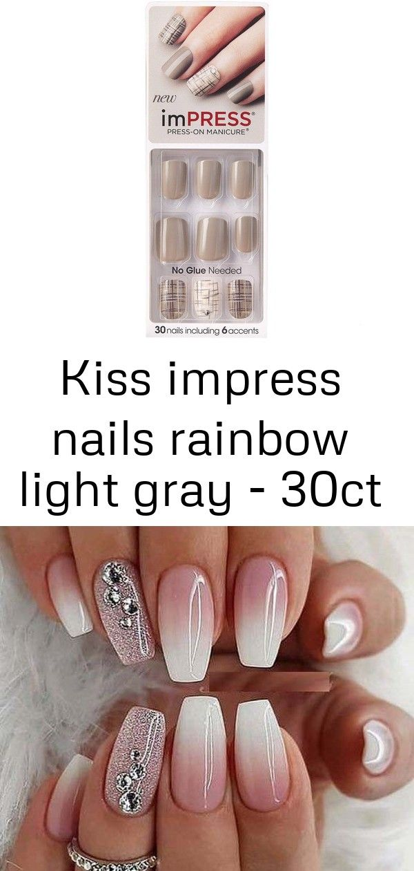 Kiss Impress Nails Rainbow Light Gray 30ct Manicure Nail Designs French Manicure Nail Designs French Manicure Nails