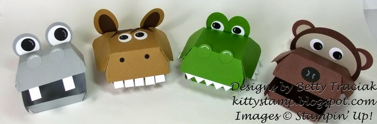 Kitty Stamp: Hamburger Box Critters - New Bigz die from Stampin' Up creates a host of critters.   Supply list of punches etc used are in the post.
