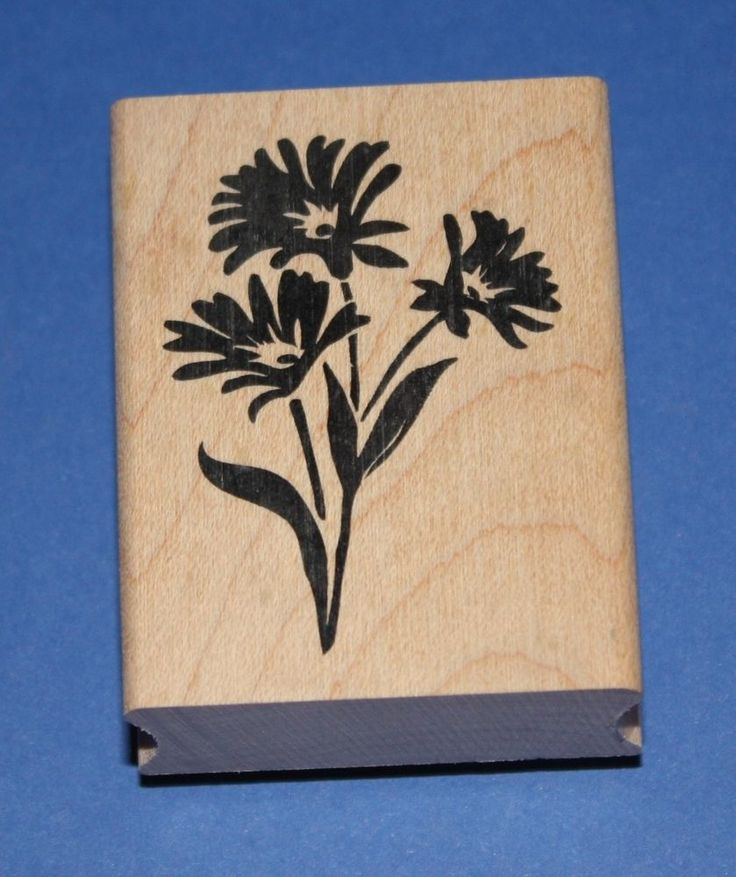 NEW Inkadinkado  Three Daisies  Wooden Backed Rubber Stamp 98009K