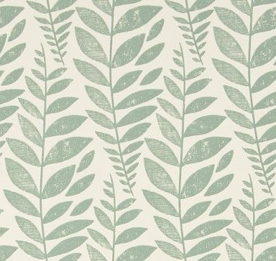 Odhni Duck Egg (P627/03) - Designers Guild Wallpapers - A pretty flowing Batik leaf design with a vintage distressed print effect. Available in a range of colours, shown here in duck egg green colourway. Paste the wall. Please request sample for true colour match.