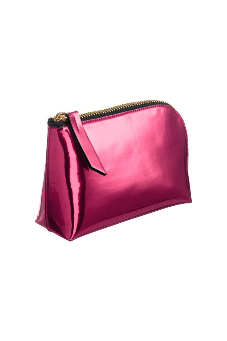 Pink. Makeup bag in faux leather with metallic shimmer. Zip at top and along one side. Lined. Size 2 1/4 x 5 x 8 1/2 in.