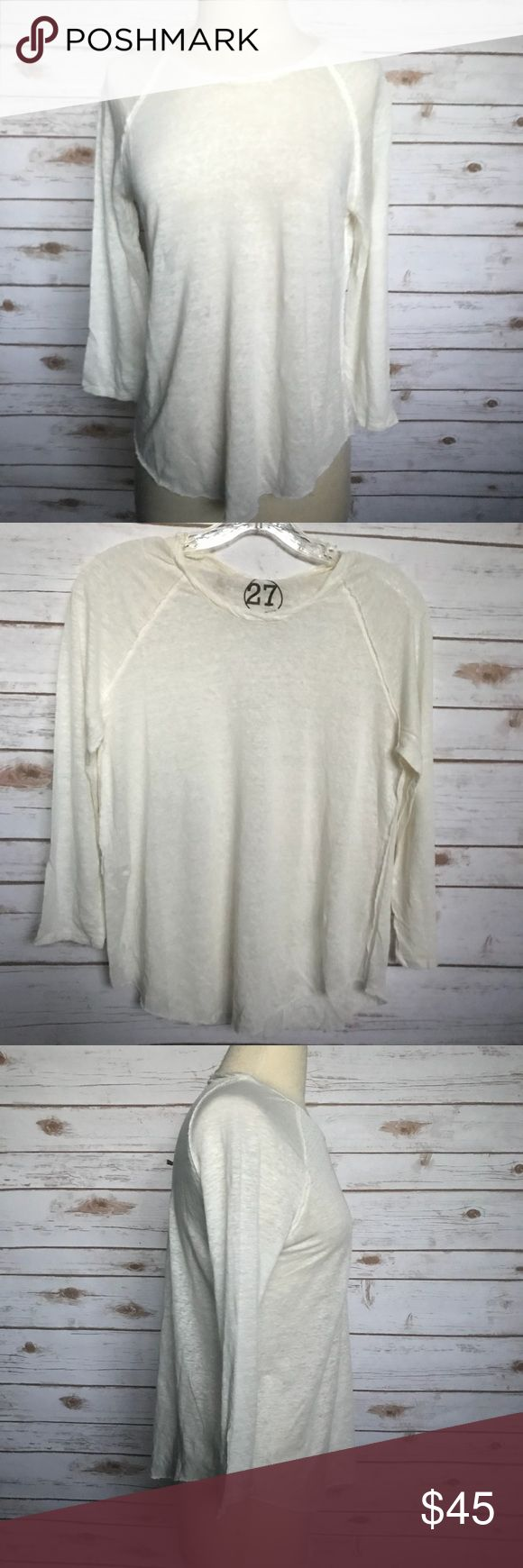 """🆕 27 MILES MALIBU Harlyn Cream Long Sleeve Top M This27 MILES MALIBU Harlyn Cream Long Sleeve Casual Top - Size M is New With Tags and Has Never Been Worn.  The Size and Material Tags are missing, please pay close attention to measurements. DESCRIPTION: - Cotton Blend - Thin Material, slightly see through - Casual Crewneck Long Sleeve Top - Rounded Hem  MEASUREMENTS (Laying Flat): Bust: 18.5"""" Sleeve: 24.5"""" Length: 24"""" 27 Miles Malibu Tops Tees - Long Sleeve"""