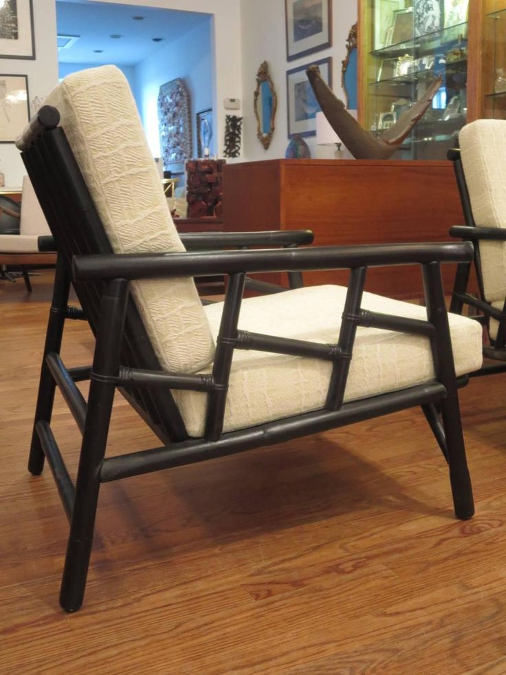 Bon Pair Of Ficks Reed Rattan Lounge Chairs