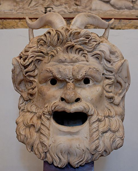 Mask of a satyr. Marble, Roman artwork, 2nd century CE.