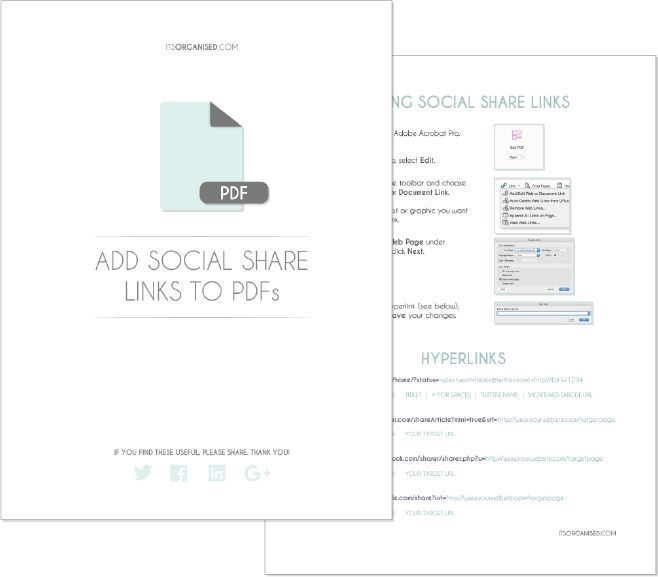 How to add social share buttons to your pdf documents - its an simple extra step and helps makes it easy for people to share the resources you've worked so hard to create...itsorganised.com. Download the cheat sheet.