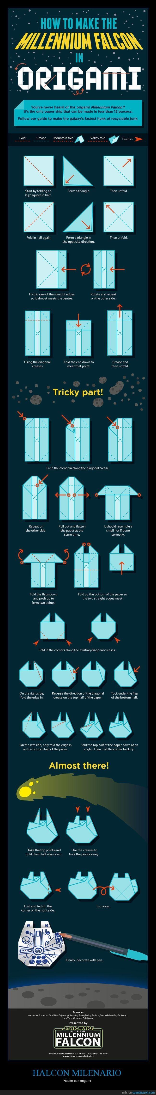 Te explicamos cómo construir el Halcón Milenario con papel - Hecho con origami   Gracias a http://www.cuantarazon.com/   Si quieres leer la noticia completa visita: http://www.estoy-aburrido.com/te-explicamos-como-construir-el-halcon-milenario-con-papel-hecho-con-origami/