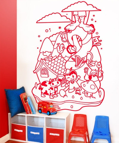 Large Mural Jack and the Beanstalk Vinyl Wall Sticker