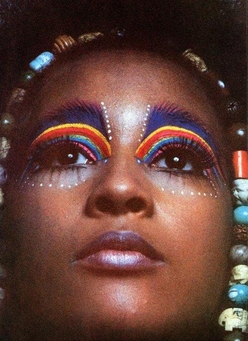 rainbow face paint & beads