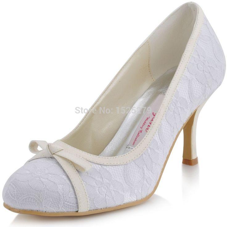 На заказ EL-029 белых женщин свадебные ну вечеринку пром туфли на высоком каблуке круглым носком высокие каблуки блеск боути атласная леди кружева свадебные туфли