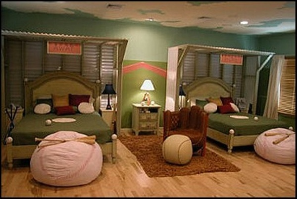Baseball themed bedroom...we can dream! (baseball beanbag for stuffed animals)