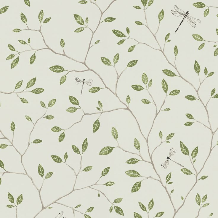 Felix Green by Sandberg - A late-summer day in the Swedish forest, with dragonflies hovering between a lake and delicate greenery, provided the inspiration for this wallpaper. Choose between a sandy colour scheme, natural green or midnight blue.