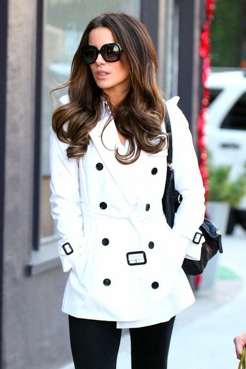 Love thisFashion, Hair Colors, Style, Kate Beckinsale, White Coats, White Jackets, White Peacoat, White Trench, Trench Coats