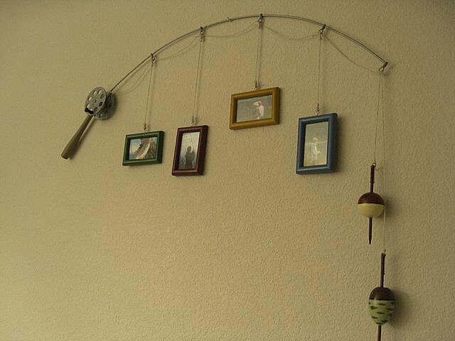 Fishing rod holding picture frames great ideas for Fishing decor for man cave